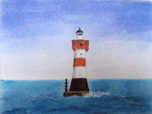 """""""Leuchtturm Roter Sand"""" in der Wesermündung Pastell auf Tonpapier 16x21 cm 07.2011"""