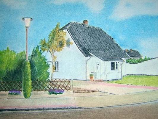 """""""Unser Haus"""" in Nordholz Pastell auf Tonpapier DIN A4 Format 04.2008"""