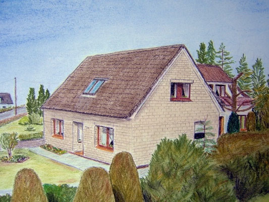 """Lisa's und Wilfried's Haus"" in Nordholz Pastell auf Tonpapier DIN A4 Format 04.2008"
