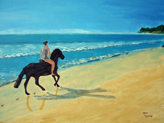 """Isas Pferd am Strand"" Acryl auf Leinwand 50x70 cm 08.2006"