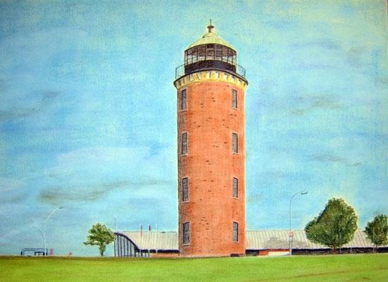 """""""Leuchtturm Hamburger"""" in Cuxhaven (Alte Liebe) Pastell auf Tonpapier 30x40 cm 03.2008"""