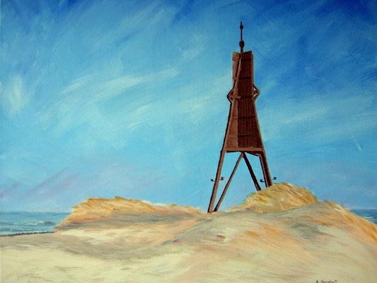 """Kugelbake"" in Cuxhaven Acryl auf Leinwand 50x60 cm 09.2007"