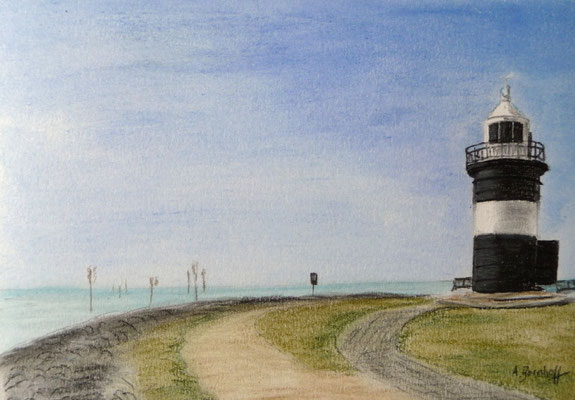 """""""Leuchtturm Kleiner Preuße"""" in Wremen Pastell auf Tonpapier 16x21 cm 07.2011"""