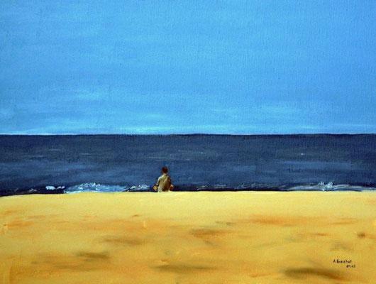 """Bo am Strand von Dänemark"" Acryl auf Leinwand 30x40 cm 04.2003"