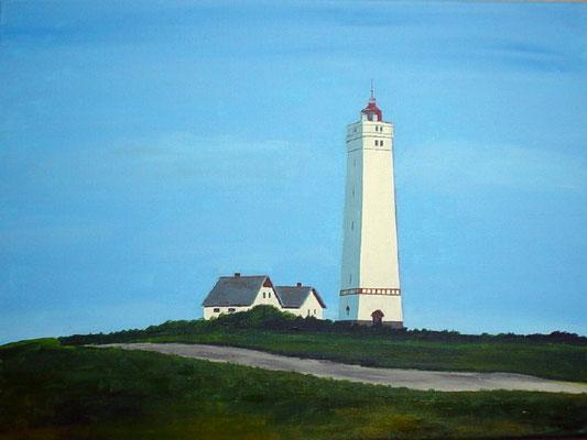 """Leuchtturm Blavand in Dänemark"" Acryl auf Leinwand 40x50 cm 02.2004"