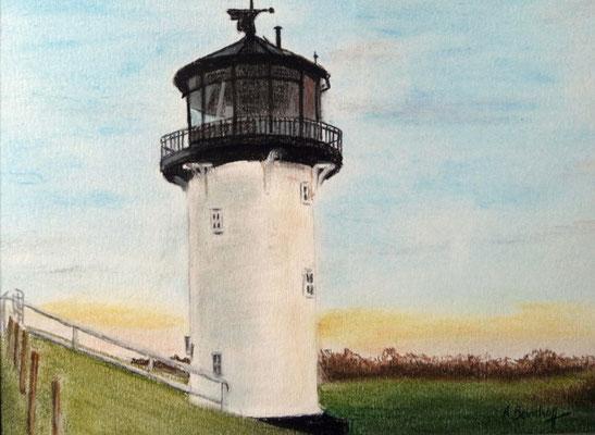 """""""Leuchtturm Dicke Berta"""" in Cuxhaven Altenbruch Pastell auf Tonpapier 16x21 cm 07.2011"""