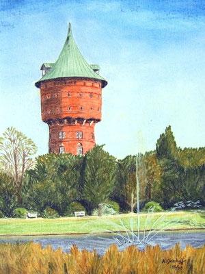 """Wasserturm"" in Cuxhaven am Kämmerer Platz Pastell auf Tonpapier DIN A4 Format 05.2008"