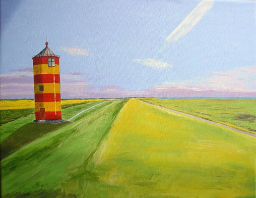 """Leuchtturm Pilsum 3"" Acryl auf Leinwand 40x50 cm 08.2004"