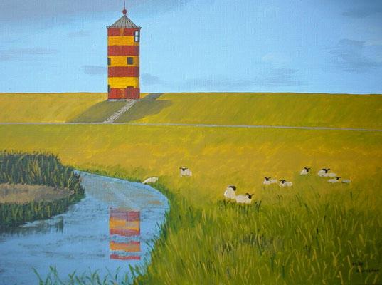"""Leuchtturm Pilsum 1"" Acryl auf Leinwand 40x50 cm 11.2003"