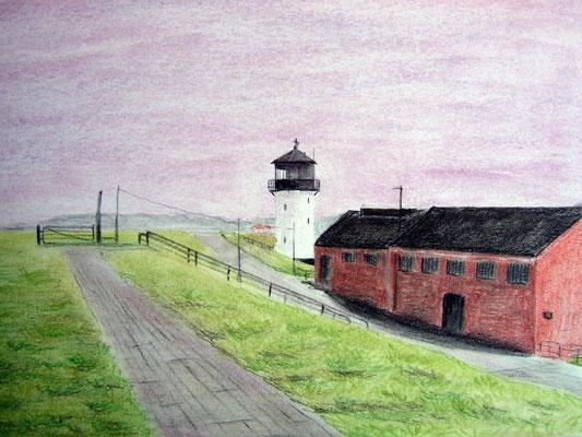 """Leuchtturm Dicke Berta"" in Cuxhaven Altenbruch Pastell auf Tonpapier DIN A4 Format 05.2008"