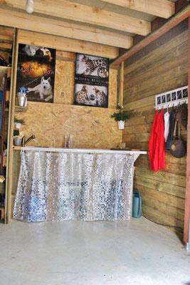 baignoire-centrale de lavage, pour les chiens (rare) ou pour le matériel