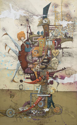 """""""peace-war-machine"""", 2015, Zeichnung, Collage auf Holz, 117 x 73 cm"""