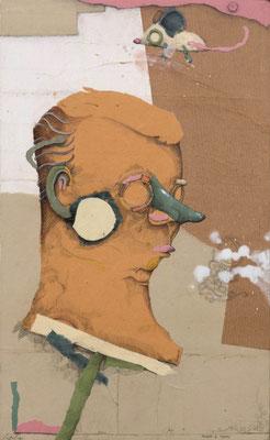 """""""Mann & Maus 1"""", 2015, Zeichnung, Collage auf Holz, 44 x 26 cm"""