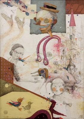 """"""" Applaus"""", 2015, Zeichnung, Collage auf Holz, 128 x 91 cm"""