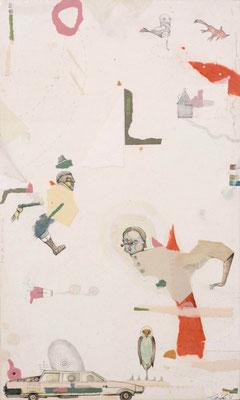 """""""Fingerübung 1"""", 2015, Zeichnung, Collage auf Holz, 50 x 30 cm"""
