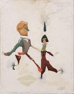 """""""Tanzkurs mit Folgen"""", 2015, Zeichnung, Collage auf Holz, 30 x 23 cm"""