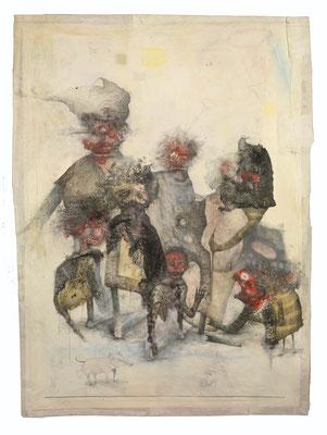 """""""Einwanderung"""", 2013, Zeichnung auf Monotypie, 118 x 87 cm"""