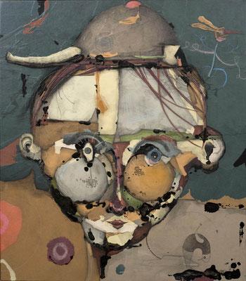 """""""Mensch mit krummen Rücken"""", 2015, Zeichnung, Collage auf Holz, 80 x 70 cm"""