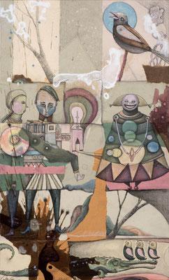 """""""Mann, Maus, Vogel"""", 2015, Zeichnung, Collage auf Holz, 44 x 27 cm"""