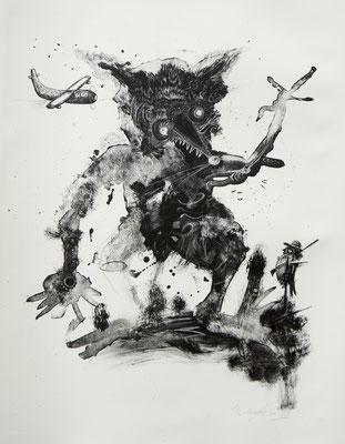 """""""Der Wilderer 2"""", 2013, Lithografie, 50 x 40 cm"""