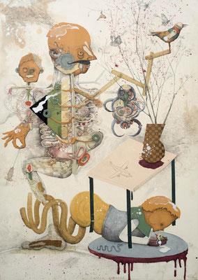 """""""Internet Apotheke"""", 2015,  Zeichnung, Collage auf Holz, 128 x 91 cm"""
