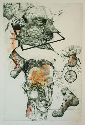 """""""Vater & Sohn"""", 2014, Kaltnadelradierung & Collage, 83 x 59 cm"""
