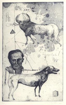 """""""Gegen Verführung"""",2012,  Radierung, 53,3 x 39,3 cm"""
