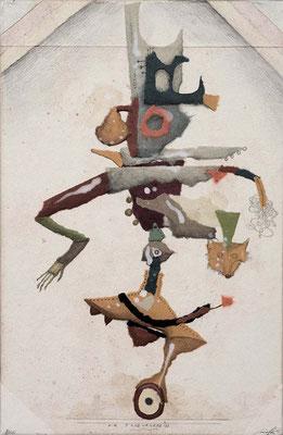"""""""Die Tanzlehrerin"""", 2015, Zeichnung, Collage auf Holz, 30 x 20 cm"""