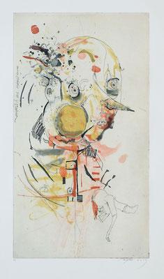 """""""Unverständnis"""", 2013, Farbradierung von 3 Platten, 44 x 25 cm"""