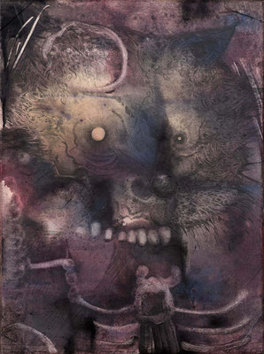 """Wo(e)lf"", 2015, Aquarell, Zeichnung, 40 x 30 cm"