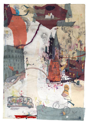 """""""Humbarg 1"""", 2017, Collage, Zeichnung, 84x61cm"""