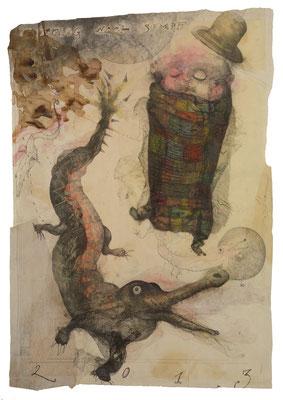 """""""Ausflug nach Sumpf"""", 2013, Zeichnung auf Monotypie, 100 x 70 cm"""