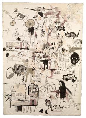 """""""Auf der Straße"""", 2013, Zeichnung,  92 x 64 cm"""