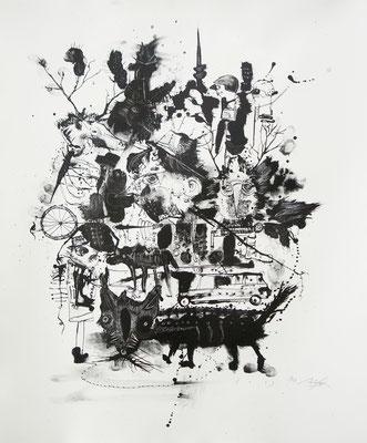 """""""Der Wilderer 5"""", 2013, Lithografie, 60 x 50 cm"""