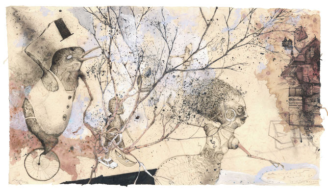 """""""Hänsel"""", 2012, Zeichnung, 50 x 90 cm"""