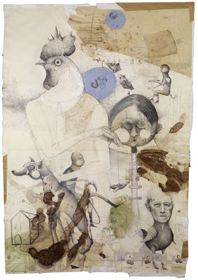 """Rekonstruktion"", 2011, Zeichnung, Collage, 120 x 81 cm"