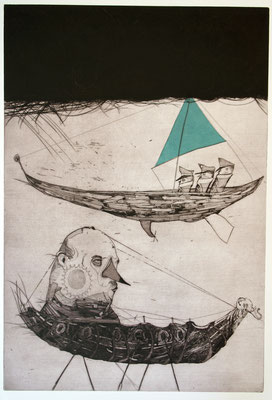 """""""Archetypen"""", 2014, Kaltnadelradierung & Collage, 83 x 59 cm"""