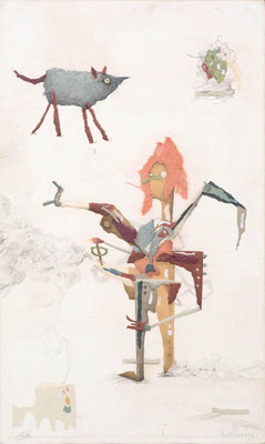 """""""Fingerübung 4"""", 2015,  Zeichnung, Collage auf Holz, 50 x 30 cm"""