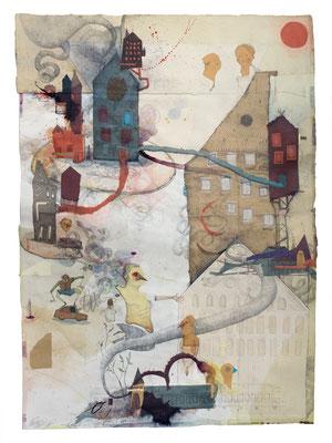 """""""Humbarg 2"""", 2017, Collage, Zeichnung, 84x61cm"""