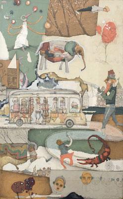 """""""Zirkus Afrika"""", 2015, Zeichnung, Collage auf Holz, 100 x 62 cm"""