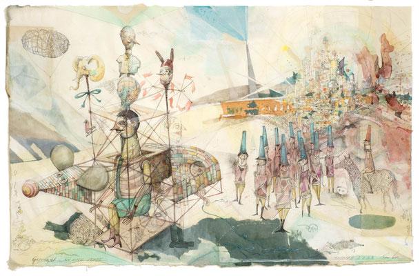 """""""Geschenk an eine Stadt"""", 2015, Zeichnung, 66 x 93 cm"""