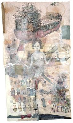"""""""Flucht"""", 2015, Collage, Zeichnung, 140 x 78 cm"""