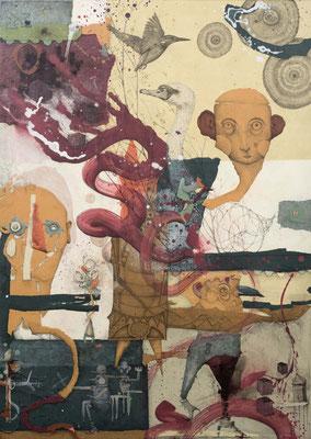 """"""" Waldstück"""", 2015, Zeichnung, Collage auf Holz, 128 x 91 cm"""