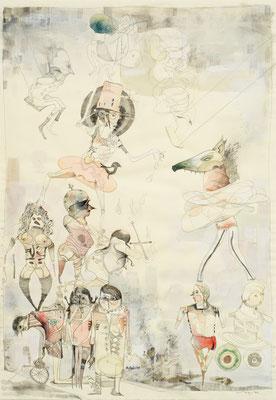"""""""Akrobaten"""", 2014, Zeichnung, 69 x 46 cm"""