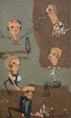 """""""Brimborium 2"""", 2015, Zeichnung, Collage auf Holz, 50 x 30 cm"""