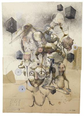 """""""Honigpumpe"""", 2011,  Zeichnung, Collage, 100 x 70cm"""