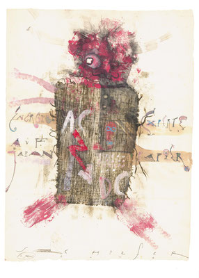 """""""Experte"""", 2012, Zeichnung auf Monotypie, 63 x 47 cm"""