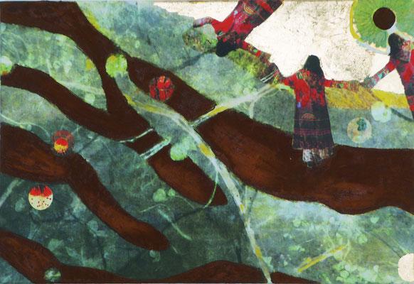 """""""Trinity V2"""", 60 x 40 cm, Eisenrost, Dekorgold, 500 €"""