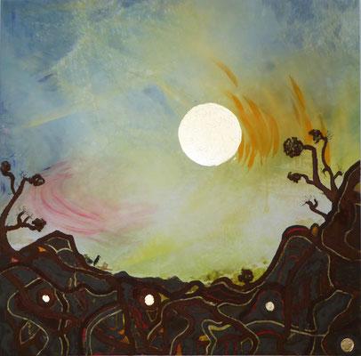 """""""Dinoversum V2"""", 100 x 100 cm, Acrylfarbe, Dekorgold, Eisenrost, 1500 €"""