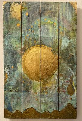 """""""Nachtwanderung"""", 38 x 60 cm, Dekorgold, Acrylfarbe auf Holz, 800 €"""